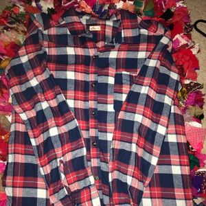Red & navy Hollister flannel